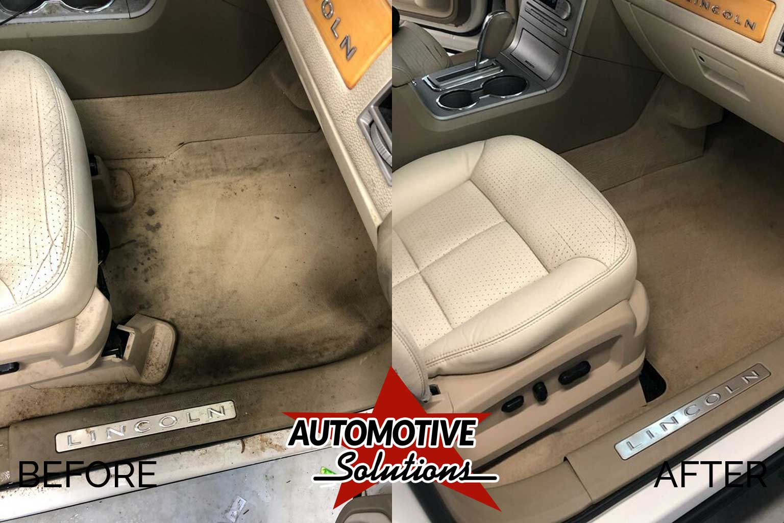 Automotive Solutions offers specialty interior detailing services like carpet cleaning, leather treatments, and complete vacuuming.